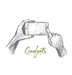 Hand drawn smartphone in human hands lettering vector image
