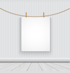 Hanging blank picture in a room vector