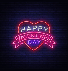 Happy valentine s day is a neon sign bright light vector