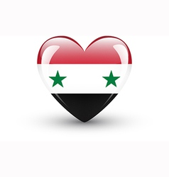 Heart-shaped icon with national flag syria vector