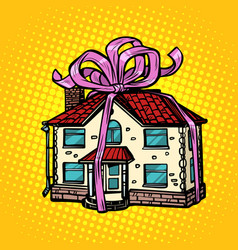 house gift real estate in festive tape vector image