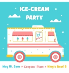 Ice Cream Truck Party Invitation vector