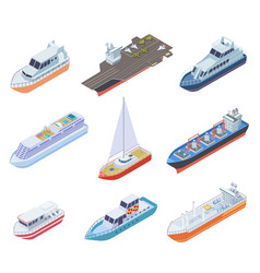 isometric ships vessels shipping nautical boats vector image