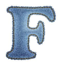 Jeans alphabet Denim letter F vector image