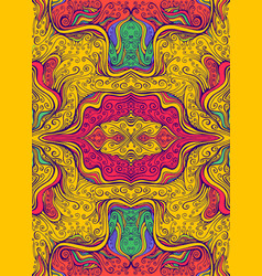 juicy psychedelic colorful mandala flower with vector image