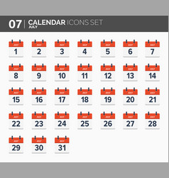 july calendar icons set date and time 2018 year vector image