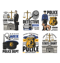 Justice police and law detective icons vector