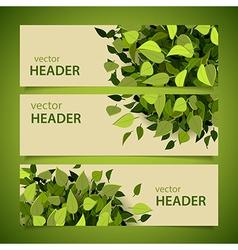 leaf headers set vector image