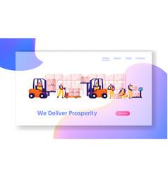 Logistics and merchandising website landing page vector