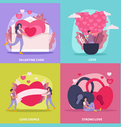 love couple flat icon set vector image