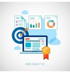 Marketing and sales analytics tasks flat icons vector