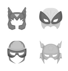 Mask on the head helmetmask super hero set vector