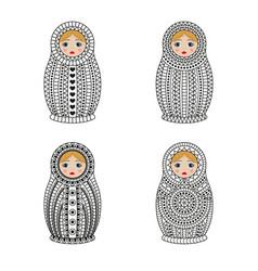 Matrioshka or nesting dolls set isolated on white vector