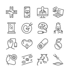 Medical technology line icon set vector