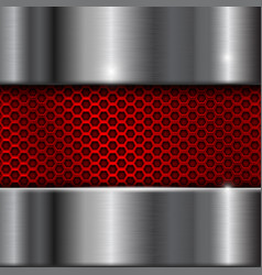 metal brushed background with red perforation vector image