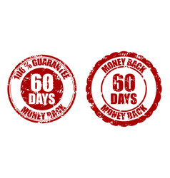 money back guarantee 60 days rubber stamp red vector image