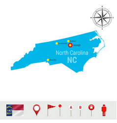 North carolina map isolated on white high vector