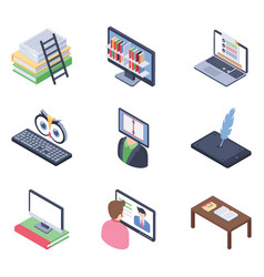online learning isometric pack vector image