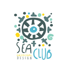 original colorful sea or yacht club logo design vector image