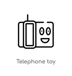 outline telephone toy icon isolated black simple vector image