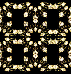 pattern on black colors with golden elements vector image