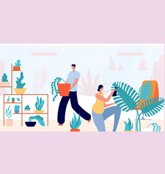 people in home garden woman planting relax vector image