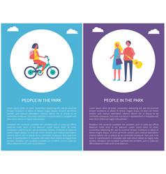 people in park posters couple walks girl ride bike vector image