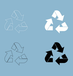 Recycling arrows in a circle the black and white vector