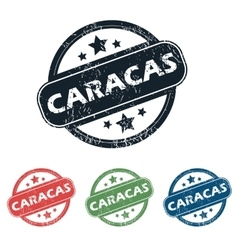 Round Caracas city stamp set vector