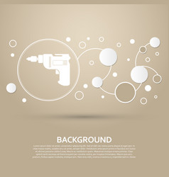 Screwdriver power drill icon on a brown vector