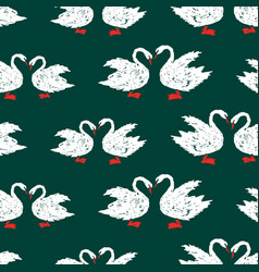 seamless pattern of white swans vector image