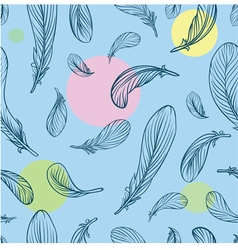 Seamless pattern with feathers and circle on the b vector image
