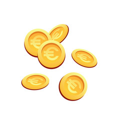 set many gold coins euro sign vector image