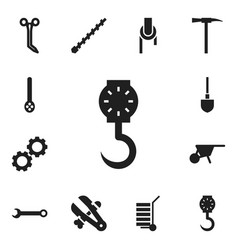 Set of 12 editable equipment icons includes vector