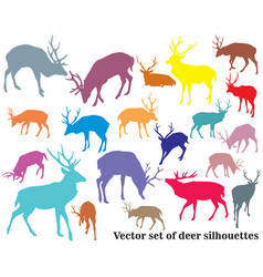 Set of colorful deer silhouettes-2 vector