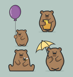 set of cute brown bear flat style vector image