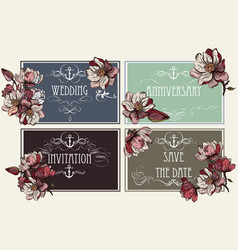 Set of invitations with magnolia flowers vector
