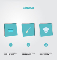 set of kitchen icons flat style symbols with ladle vector image