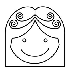 Silhouette girl face caricature icon closeup vector