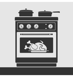 silhouette oven to cook food vector image