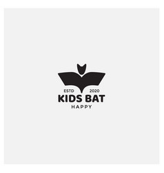 Simple icon bat kids logo design vector