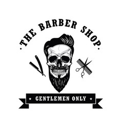 Skull barber shop vintage logo template vector