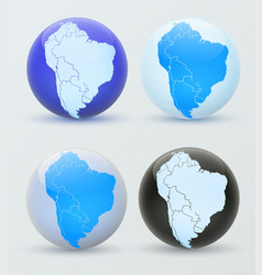 south america on a globe 3d globe south america vector image