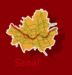 Sticker map of seoul with borders of the regions vector