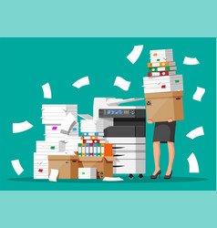 stressed businesswoman in pile office documents vector image