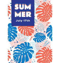 Summer poster tropical leaves background vector