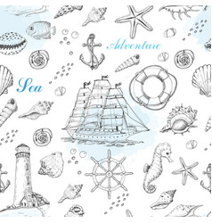 summer seamless pattern with marine elements vector image