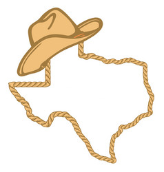 texas map with lasso rope frame and cowboy hat vector image