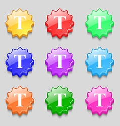 Text edit icon sign Symbols on nine wavy colourful vector