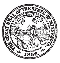the great seal of the state of minnesota vintage vector image